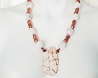 Copper and Cream Beaded Necklace and Wire-Wrapped Pendant