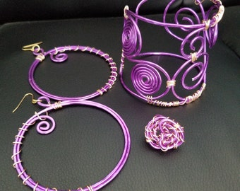 Hoopfuls, CuffEm and Wire-Wrapped matching Spiral ring