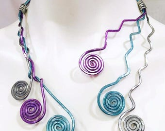 Medusa Artistic Braided Spiral Abstract Necklace