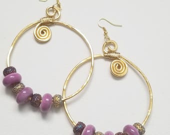 Hoopful Beaded Hammered Hoops Earrings
