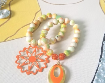 Sunburst Pendant Stacked Bracelet Set. ON SALE!
