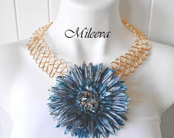Serpentine Flower Statement Necklace