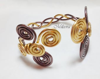 Chocolate Gold Braided Wire Cuff