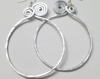 Hoopful Spiral Hammered Wire Hoops