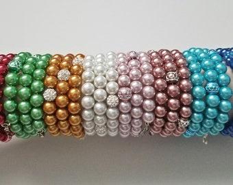 Beaded Memory Wire Charm Bracelets