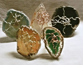 Agate Slice Artistic Wire Wrapped Rings