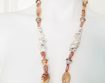 Frosted Caramel Howlite Unisex Necklace