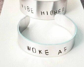 Stamp Out Loud Personalized Cuff Bracelets