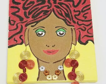 "V.A.M.W.A ""Porshia"" Original Painting and Trinity Earrings Duet ON SALE! HALF Off!"
