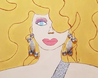 "V.A.M.W.A ""Farrah"" Hand Painted Jewelry Art with ""Flutter"" Earrings ON SALE! Half OFF!"