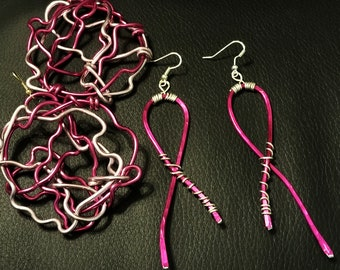 Ribbon and Wild Wire AWARENESS Earrings
