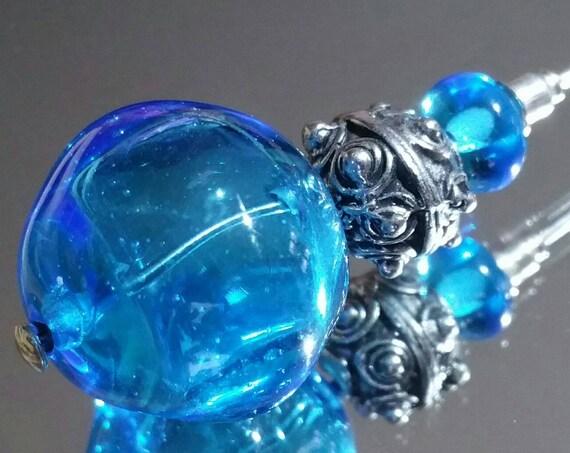 "Fibula blown lampwork blue ""Sea of Iroise"" bead"