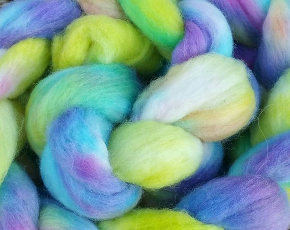"Braided wool for spinning, felting, quilting ""Spring BFL, green and purple turquoise 3"""