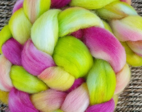 "Wool roving for spinning, felting, quilting for textile arts ""Hibiscus"""