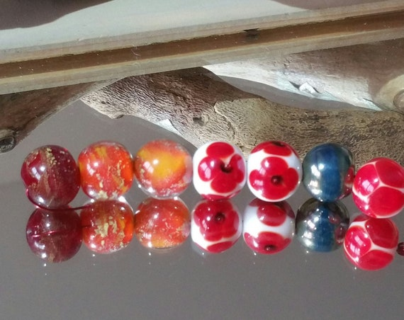 "Set of 7 lampwork beads, Lampwork Glass ""Spring"""