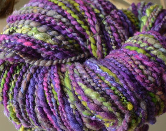 """Skein of hand spun wool"" spring Woods ""soft wools, Chunky green and purple tones"