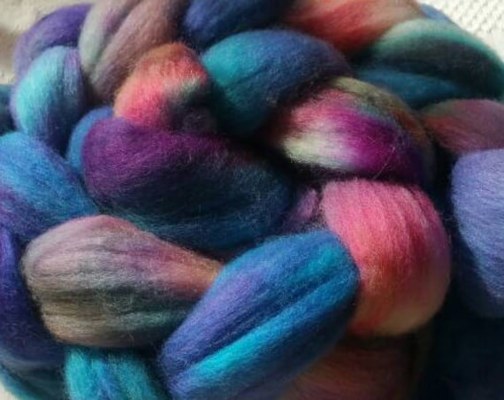"Roving wool for spinning or felting, textile arts, tinted hand shades blue, purple and Brown ""Billabong"""