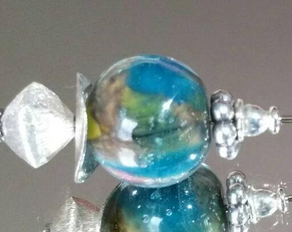 "Fibula beads handmade Lampwork, blue and green ""Earth"""