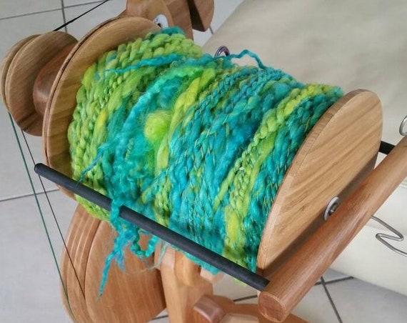 "Handspun yarn sold by the yard ""Ireland"" textile arts, very plump yarn with Wensleydale curls."