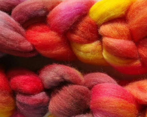 "Braided wool for spinning or felting ""Nasturtium"""