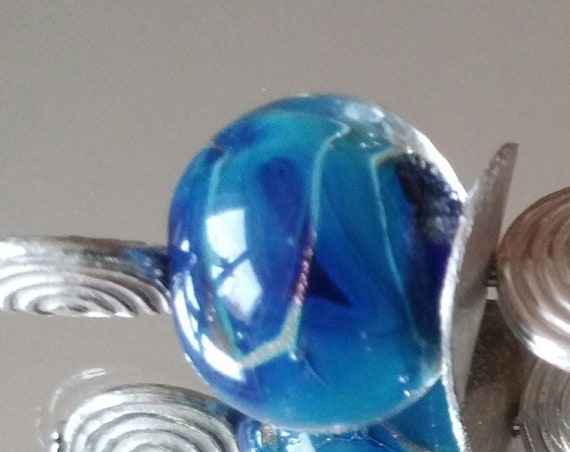 "Blue lampwork with aventurine ""Milky"" bead brooch"