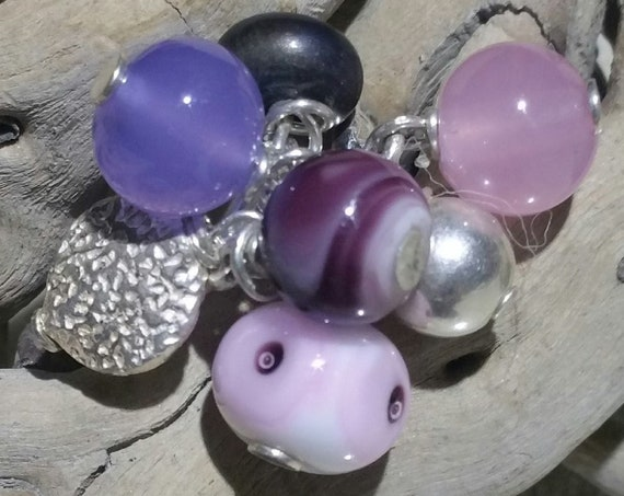 """Orchidée"" bells ring adjustable, silver and pink lampwork beads"