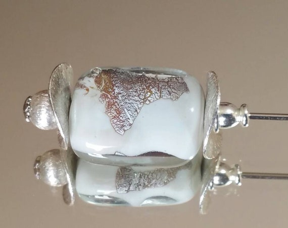 "Ivory rectangular lampwork with silver leaf bead fibula ""Winter"""