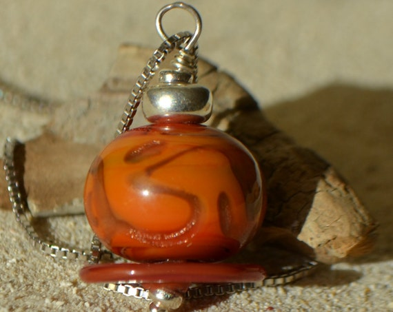 Rusty brown tones lampwork pendant, 925 sterling silver