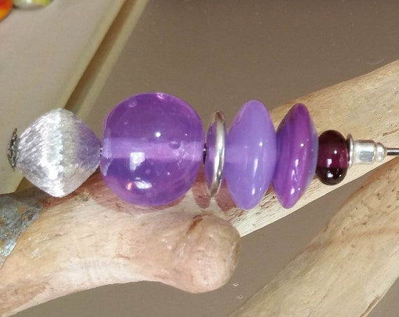 """Lavender"" fibula purple Lampwork Glass Beads"