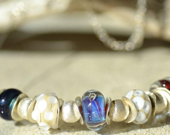 Choker style Torque necklace tone purple lampwork beads and ecru, Silver 925