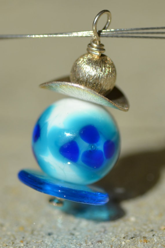 Blue and turquoise glass spun torch flower pattern and Silver 925 pendant