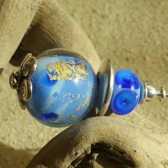 Fibula Oceans, glass gold foil Lampwork bead