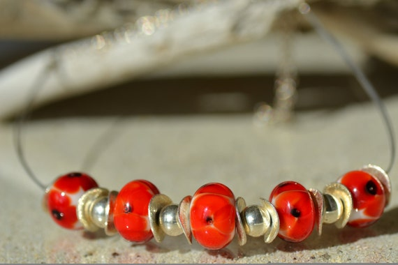 """Choker style Torque necklace lampwork beads """"Poppies"""", 925 sterling silver"""