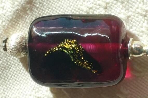 Fibula Fuschia, plum and pink Lampwork Glass Bead