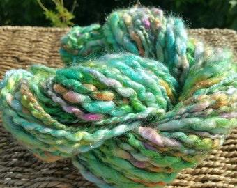 Spring skein multicolor handspun yarn