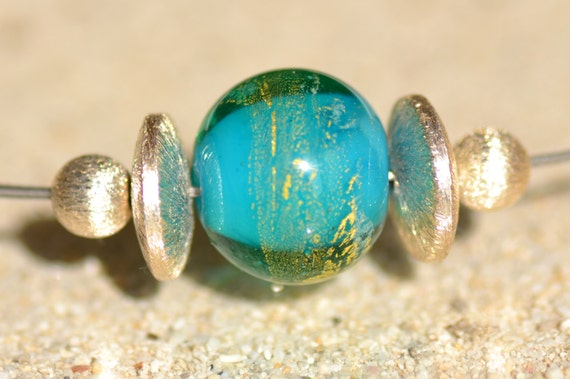 "Crew neck ""Atlantis"" glass blue lagoon with gold foil Lampwork bead"