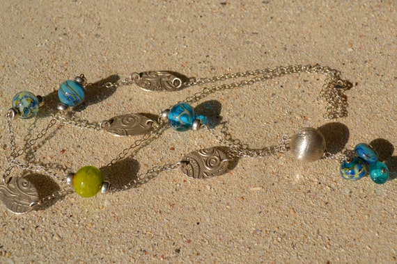 long Crozon turquoise and green tones in 925 Silver necklace, beads glass Lampwork, silver paste