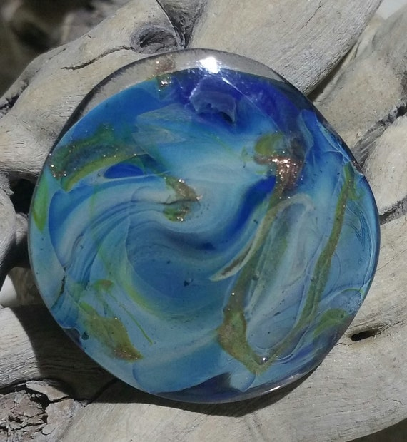 """Galaxy"" Lampwork Glass blue tones with aventurine cabochon ring"