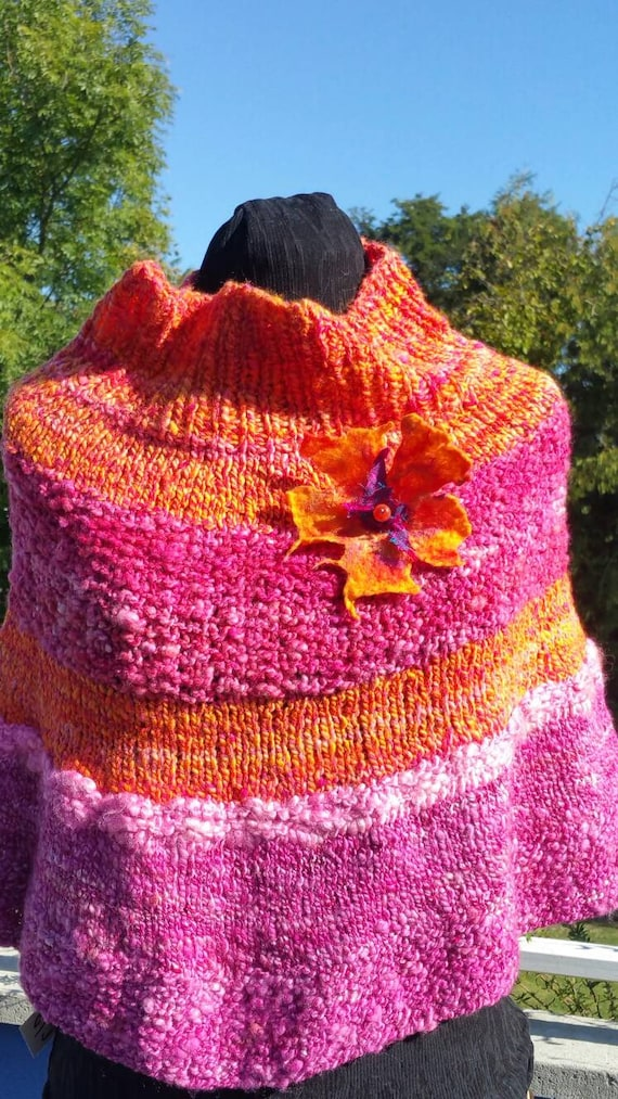 "Light - pink shoulders fuschia wool dyed and hand spun, ""Nasturtium"" knitted by me."