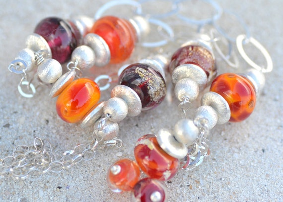 "Necklace ""tangerine dream"" Orange Lampwork Glass Beads"