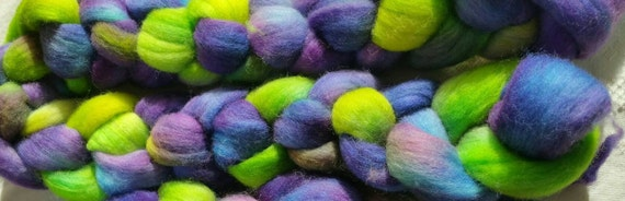 "Roving wool for spinning, felting or textile paintings ""Monet 1"""