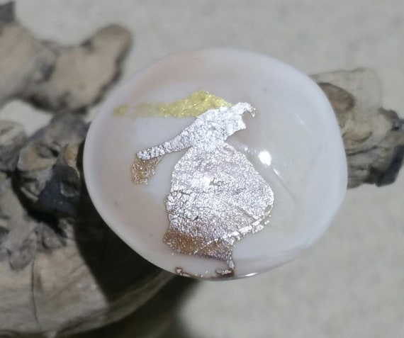 "Ring ""Chamonix"" glass cabochon handspun ivory with silver foil and gold leaf"