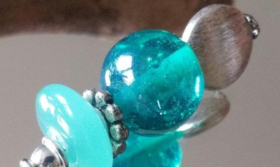 "Fibula ""Aqua"" turquoise lampwork beads"