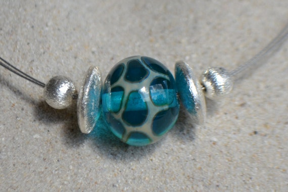 Choker turquoise necklace with silver foil, Lampwork Glass Bead