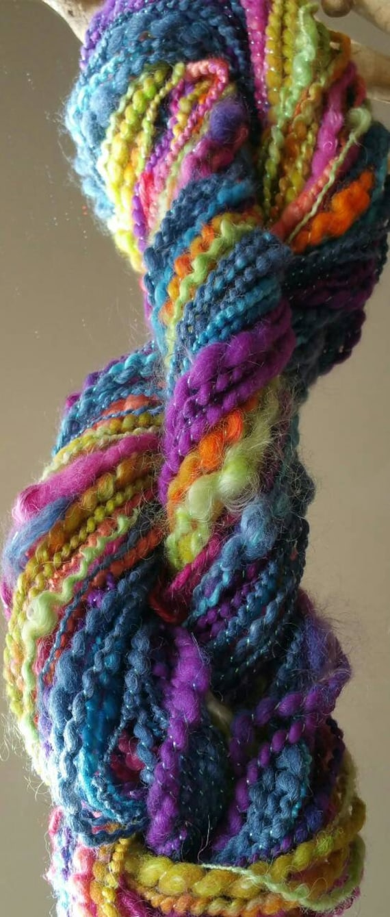 """Multicolor"" very soft wool hand spun wool skein"
