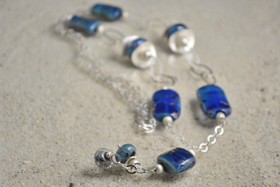 """Necklace """"Galaxy"""" beads Lampwork, blue lampwork with aventurine beads, 925 Silver chain"""