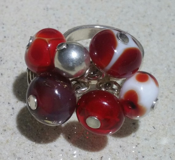 """Embers"" bells ring adjustable, silver and red tones lampwork beads"