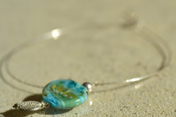 Turquoise pendant and gold glass filled and Silver 925