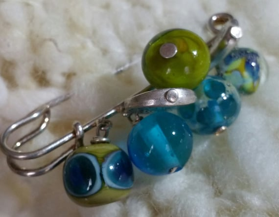 Brooch beads Lampwork green and turquoise tones