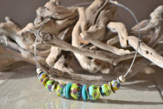 "Choker style Torque ""Harlequin"" green, turquoise and purple lampwork beads"